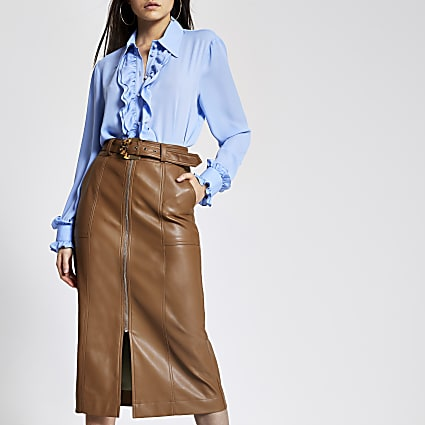 Brown faux leather zip front midi skirt