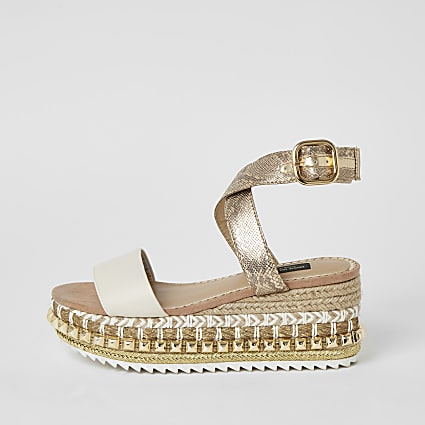 Beige studded flatform wedge wide fit sandals