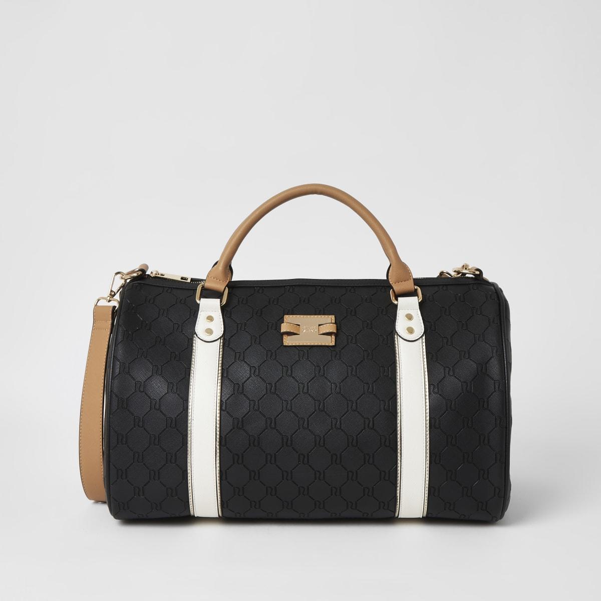 Black RI embossed weekend duffel bag