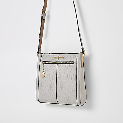 Grey RI embossed cross body messenger bag
