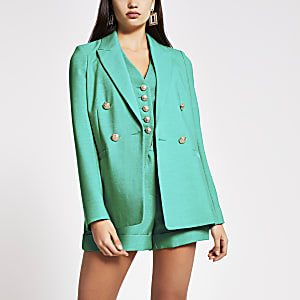 Groene double-breasted blazer