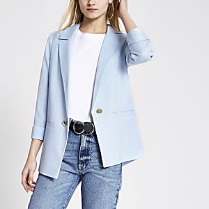 Blauwe blazer met omslag mouwen