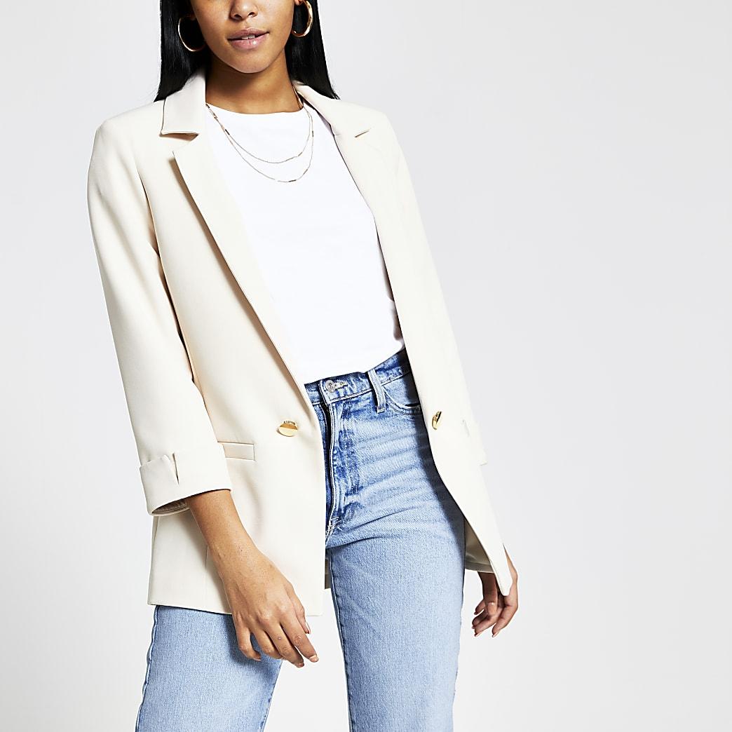 Cream turn-up sleeve blazer