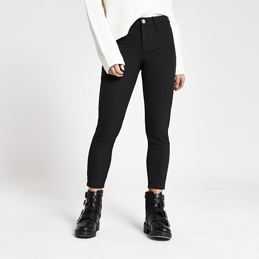 Petite black Molly techno skinny fit trousers