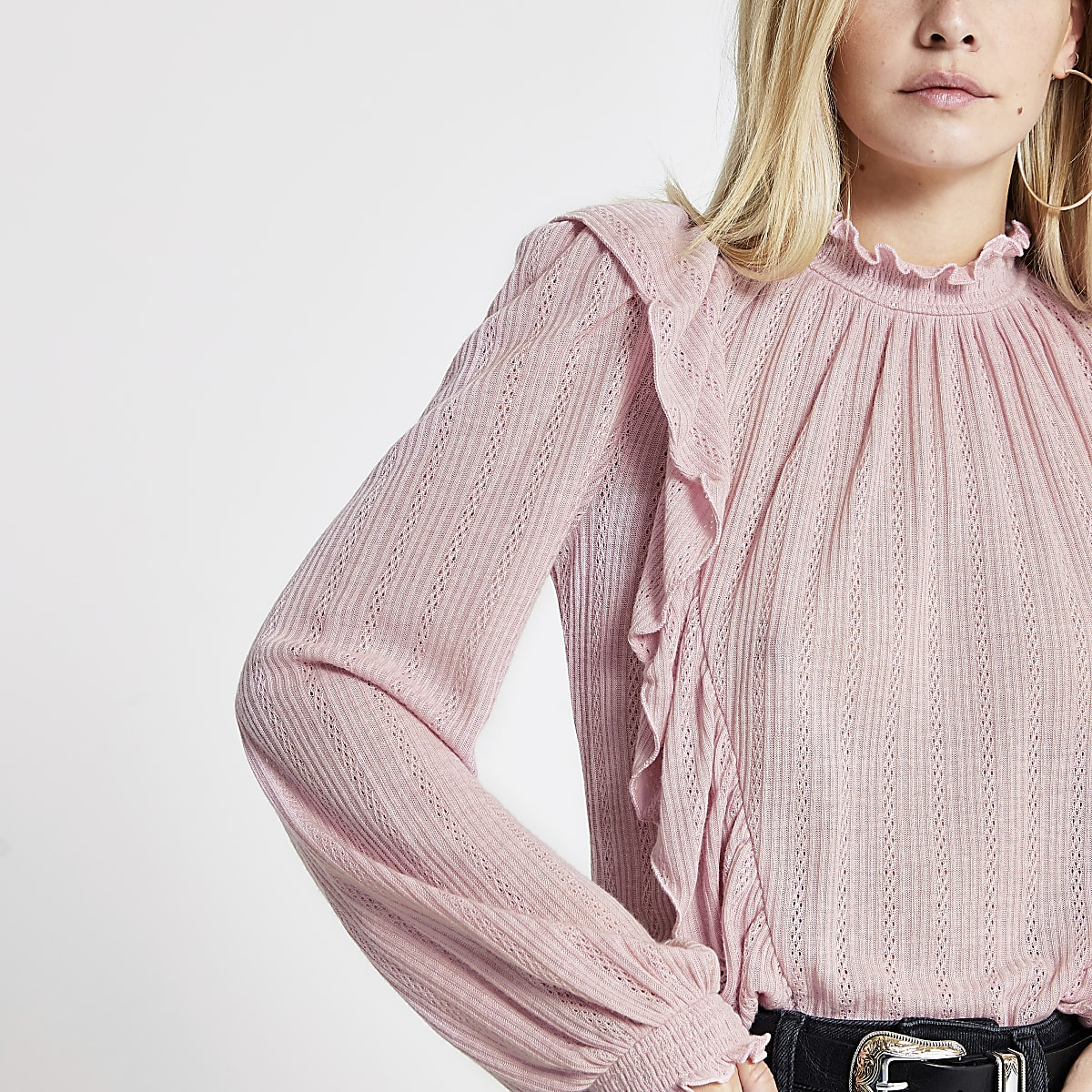 Petite light pink frill front pointelle top