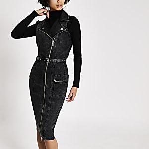 Zwarte biker denim midi-jurk met ceintuur