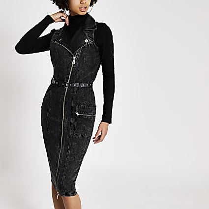 Black belted midi biker denim dress