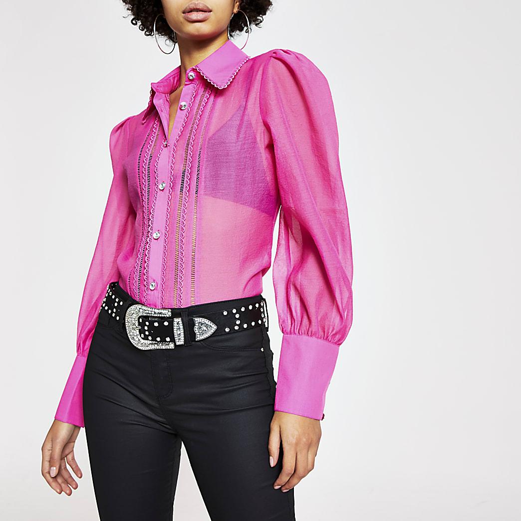 Roze geborduurd doorschijnend overhemd met lange mouwen