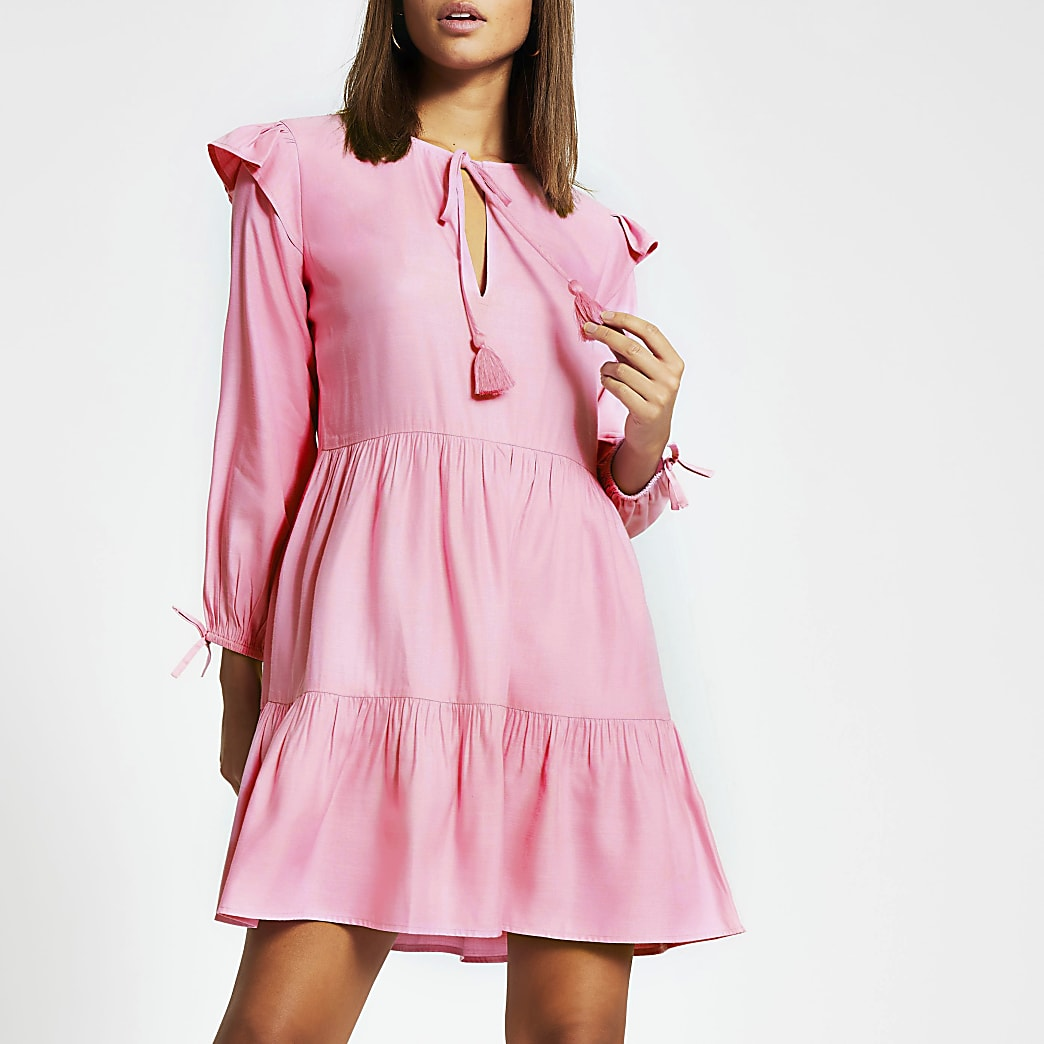Pink long sleeve tie neck mini smock dress