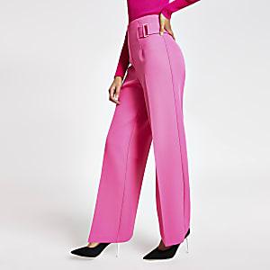 Roze broek met wijde pijpen en gesp aan zijkant