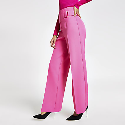 Pink buckle side wide leg trousers