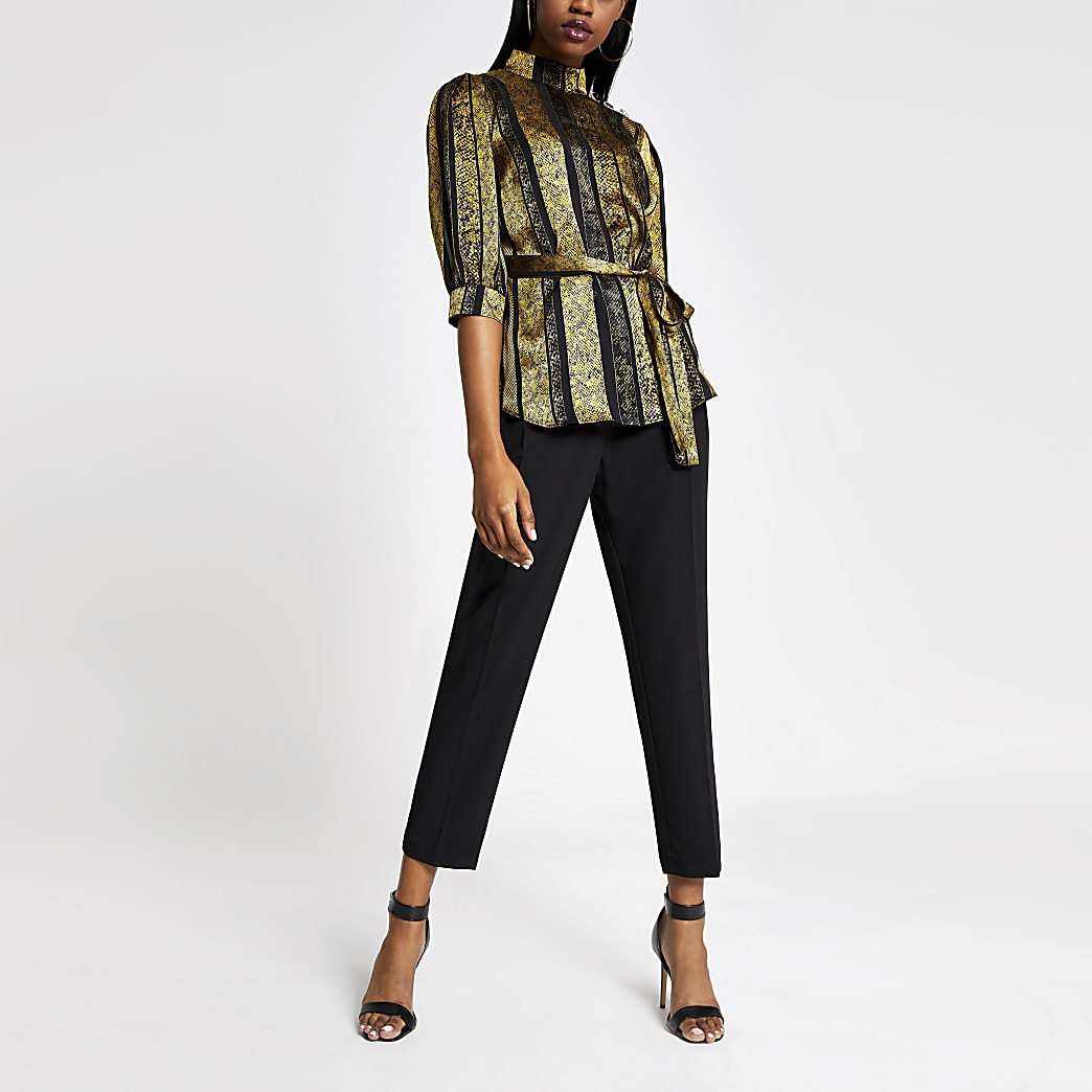 Gold printed high neck tie belted top
