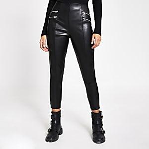 Schwarze Leggings aus Kunstleder mit Reißverschluss vorne