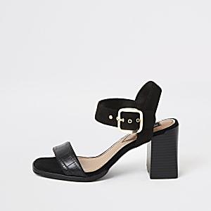 Zwarte tweedelige sandalen met blokhak en brede pasvorm