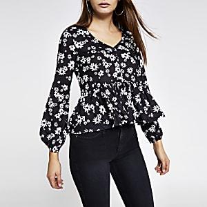 Zwarte blouse met print en knopen voor