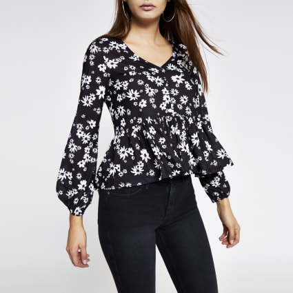 Black printed ruffle button front blouse
