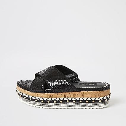 Black embossed wide fit flatform sandals
