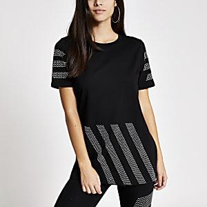 T-shirt noir à manches courtes avec rayures en strass