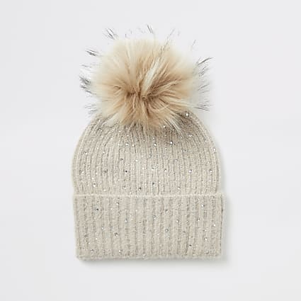 Beige diamante embellished knitted beanie hat