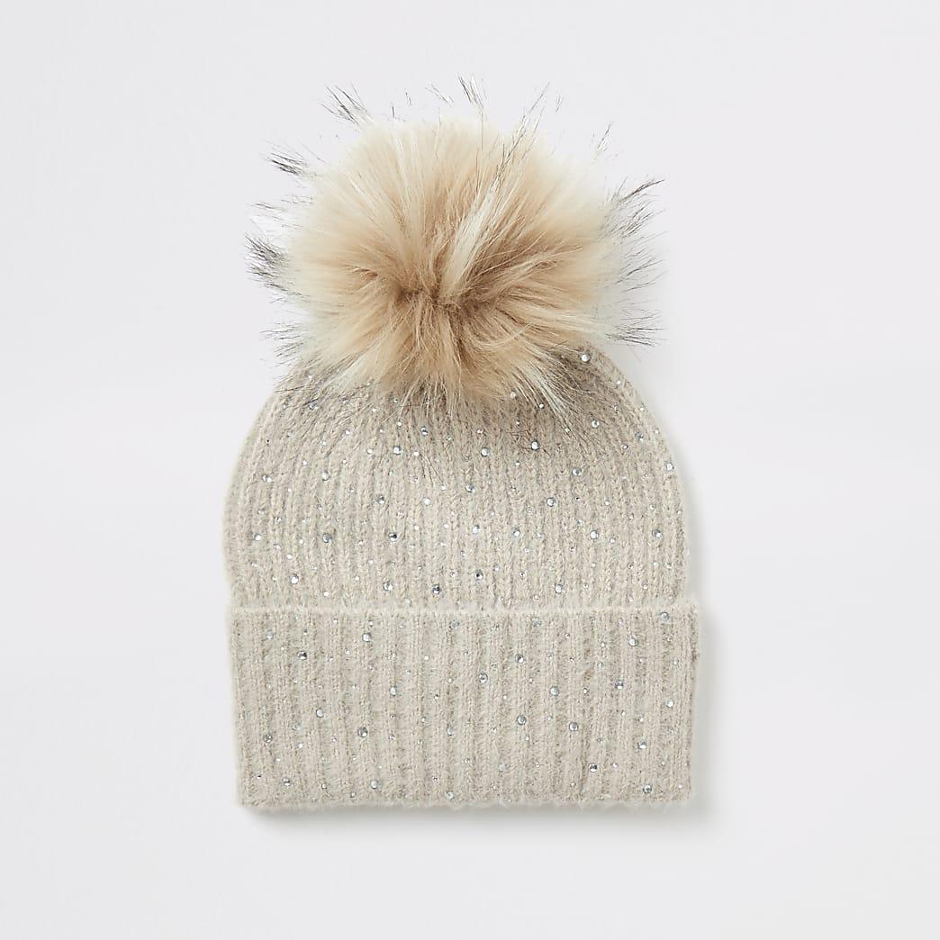Beige diamante embellished knitted beanie hat