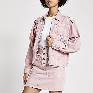 Jeans-Bikerjacke in Rosa mit Fronttaschen