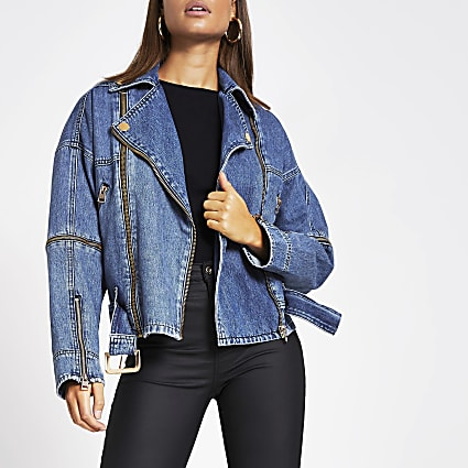 Blue belted zip front biker denim jacket