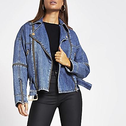 Blue belted zip front biker denim jacket