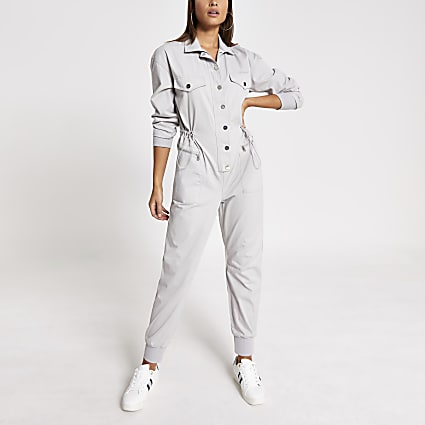 Grey drawstring waist denim boiler jumpsuit