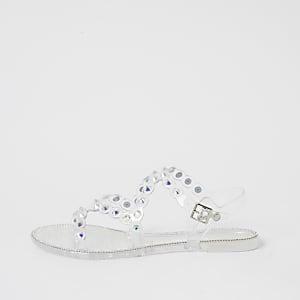 Sandales en plastique à strass transparentes