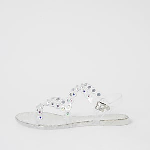 Clear diamante jelly sandals