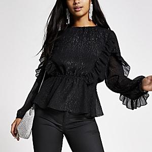 RI Petite - Zwarte blouse met lange mouwen en ruches