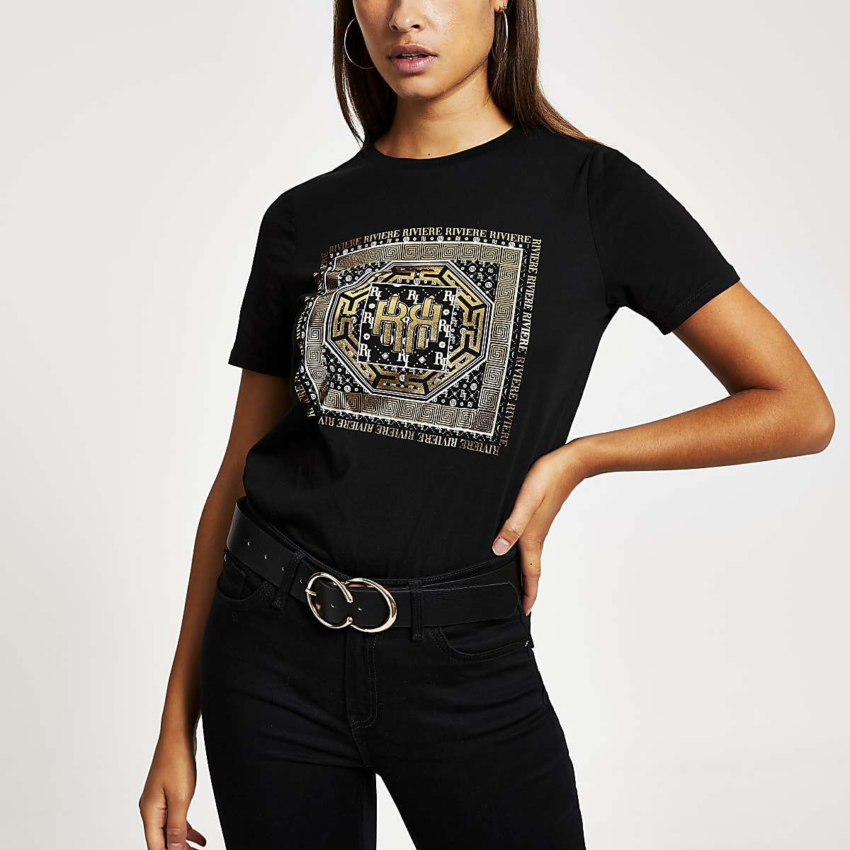 Black foil printed boyfriend fit T-shirt