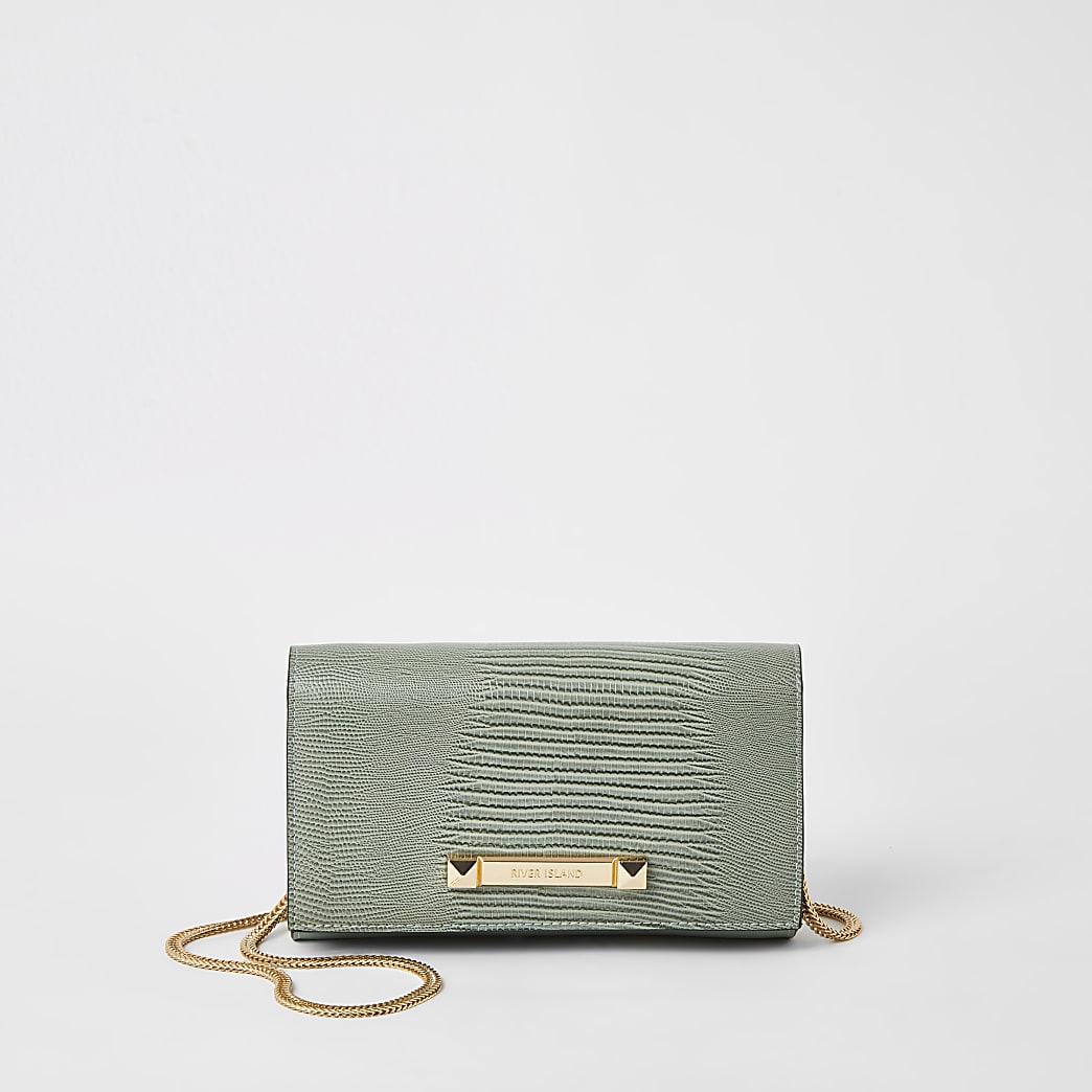 Grüne, strukturierte Mini-Unterarmtasche