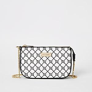 Minitasche mit schwarzem RI-Monogramm-Muster