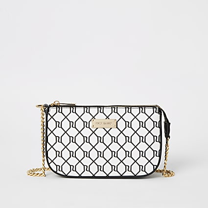 Black RI monogram mini underarm bag