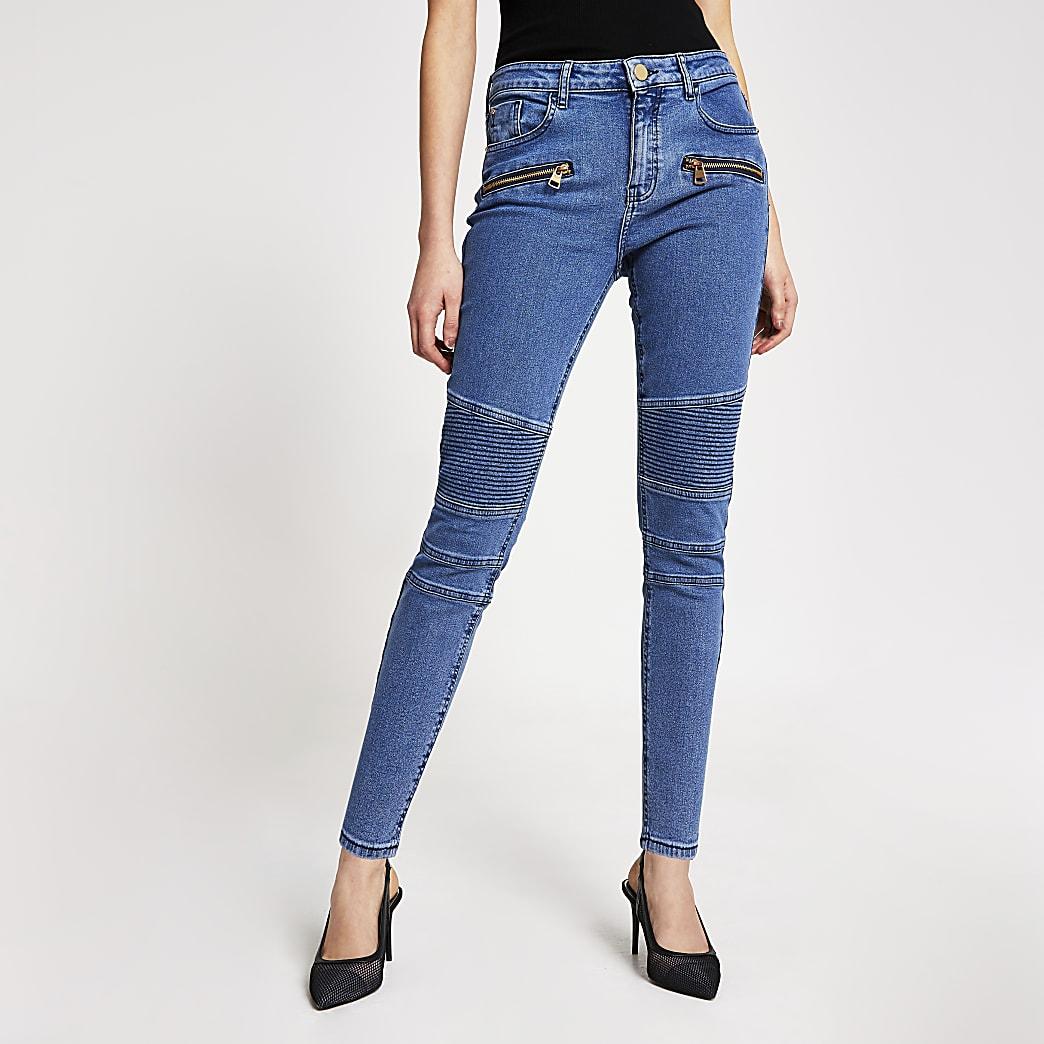 Amelie - jean super skinny bleu type motard