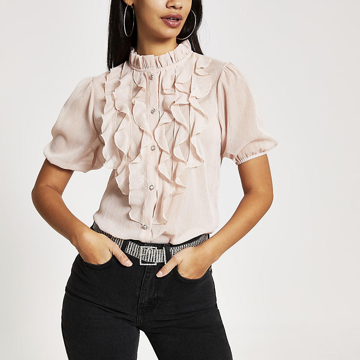 Pink ruffle front short sleeve top