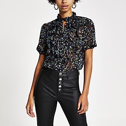Black floral ruffle short sleeve blouse