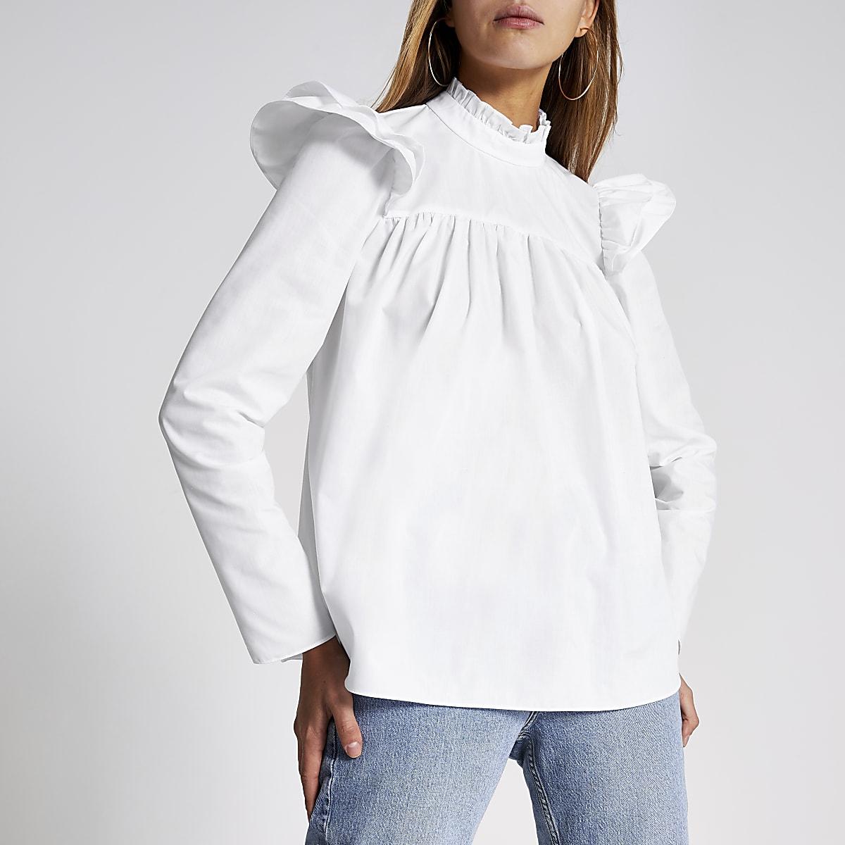 White long sleeve poplin smock blouse