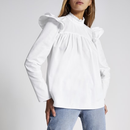 White long sleeve poplin smock blouse