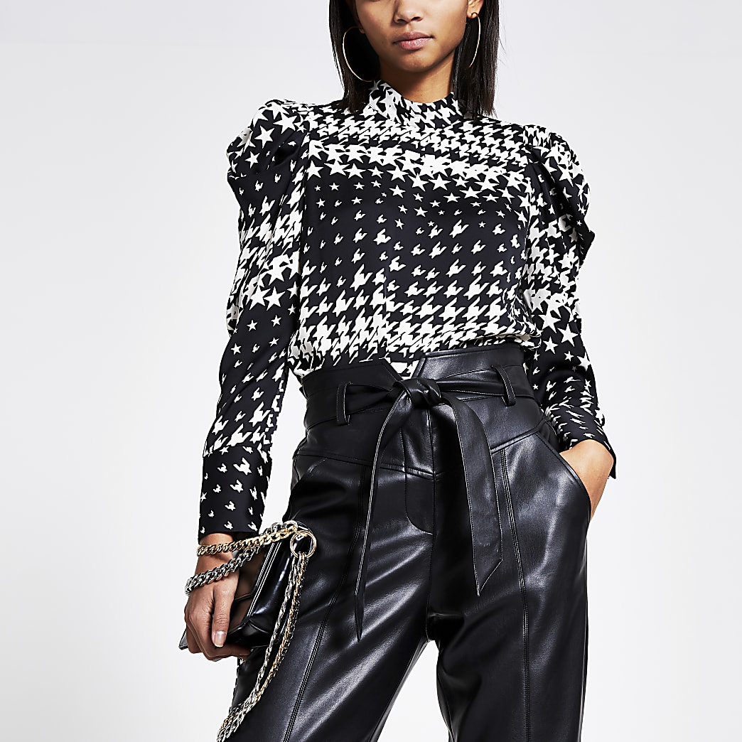 Black dogtooth check long puff sleeve blouse