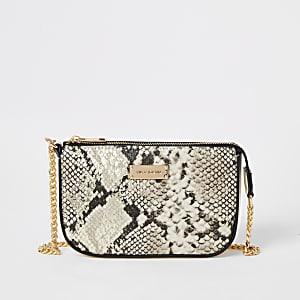 Beige Mini-Handtasche in Schlangenlederoptik