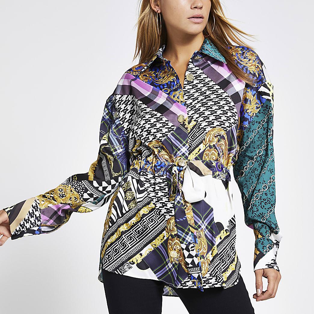 Paars overhemd met print, strikceintuur en lange mouwen
