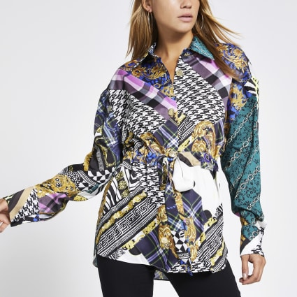 Purple printed tie waisted long sleeve shirt