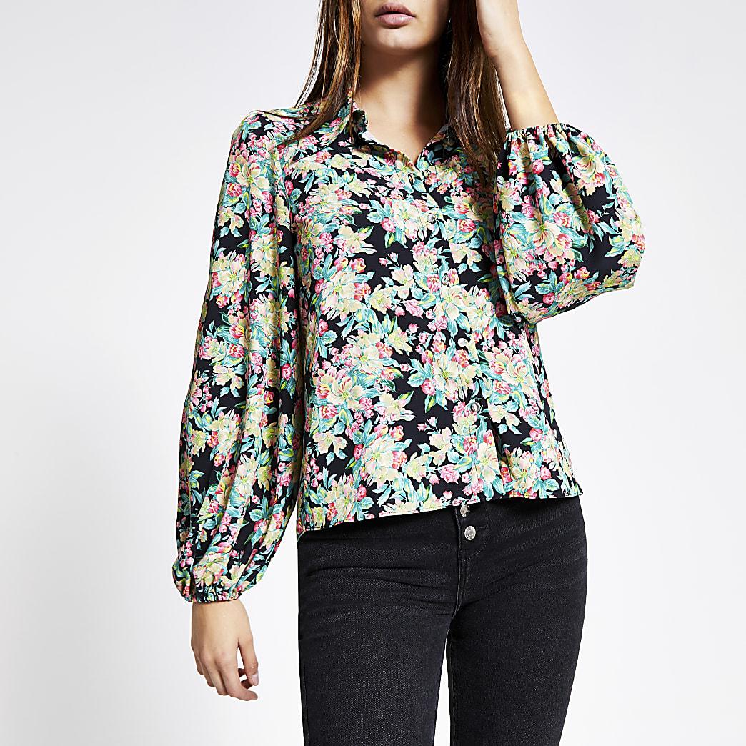 Zwart overhemd met lange pofmouwen en bloemenprint