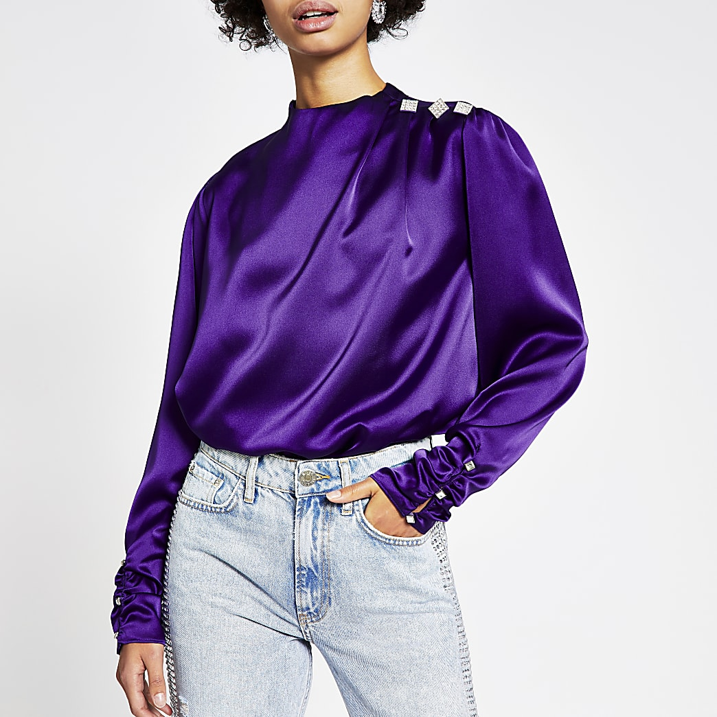 Purple long ruched sleeve diamante top