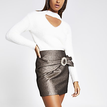 Bronze wrap diamante buckle mini skirt