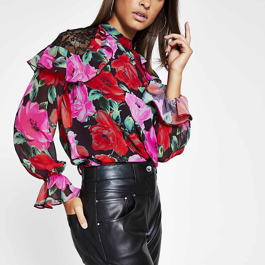 Black floral lace frill shoulder blouse