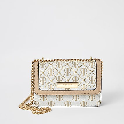 Beige RI monogram mini cross body bag