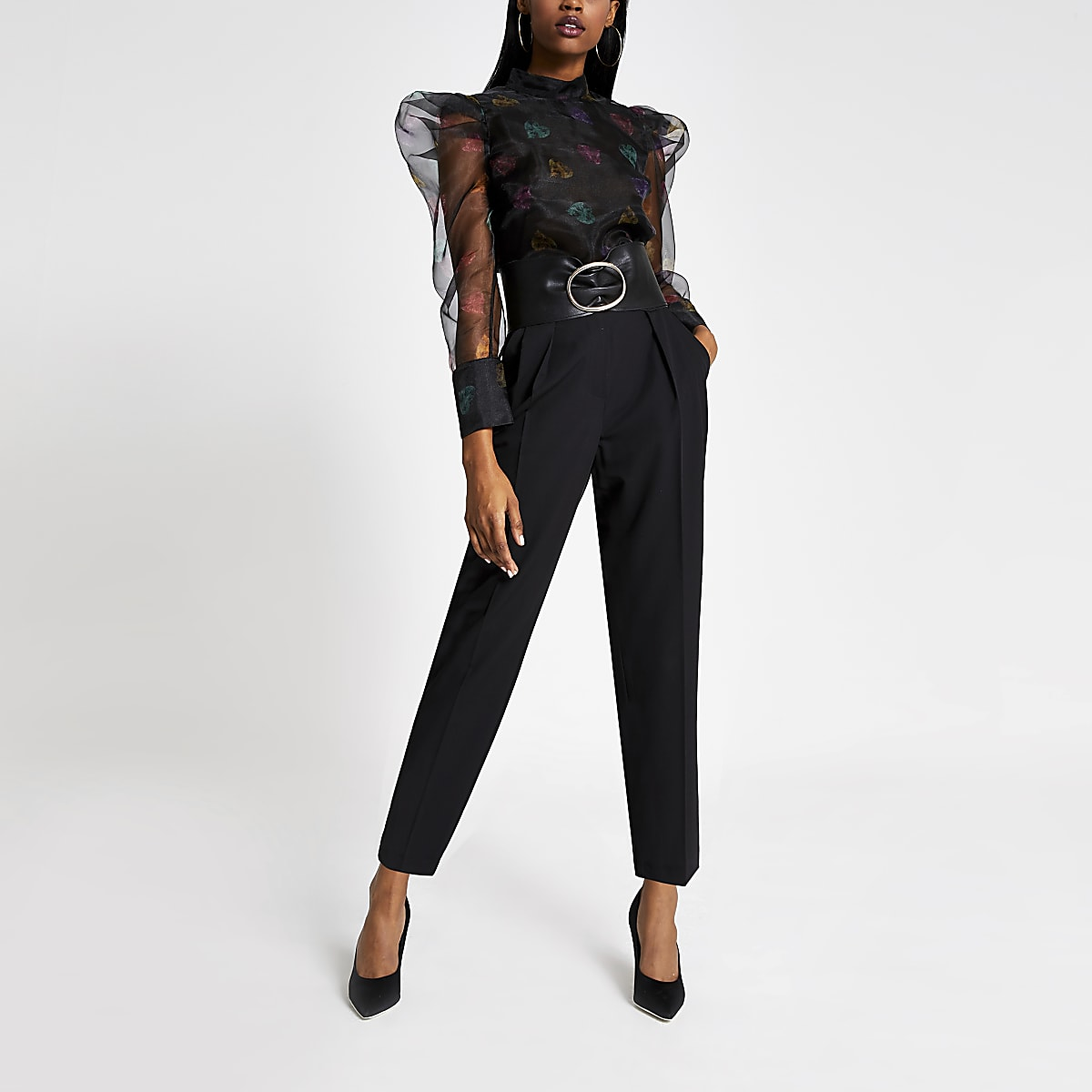Black printed long puff sleeve organza top